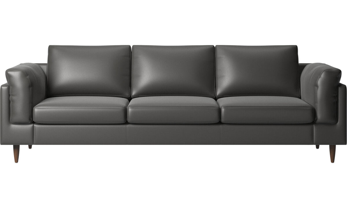 3 seater sofas - Indivi 2 sofa - Grey - Leather