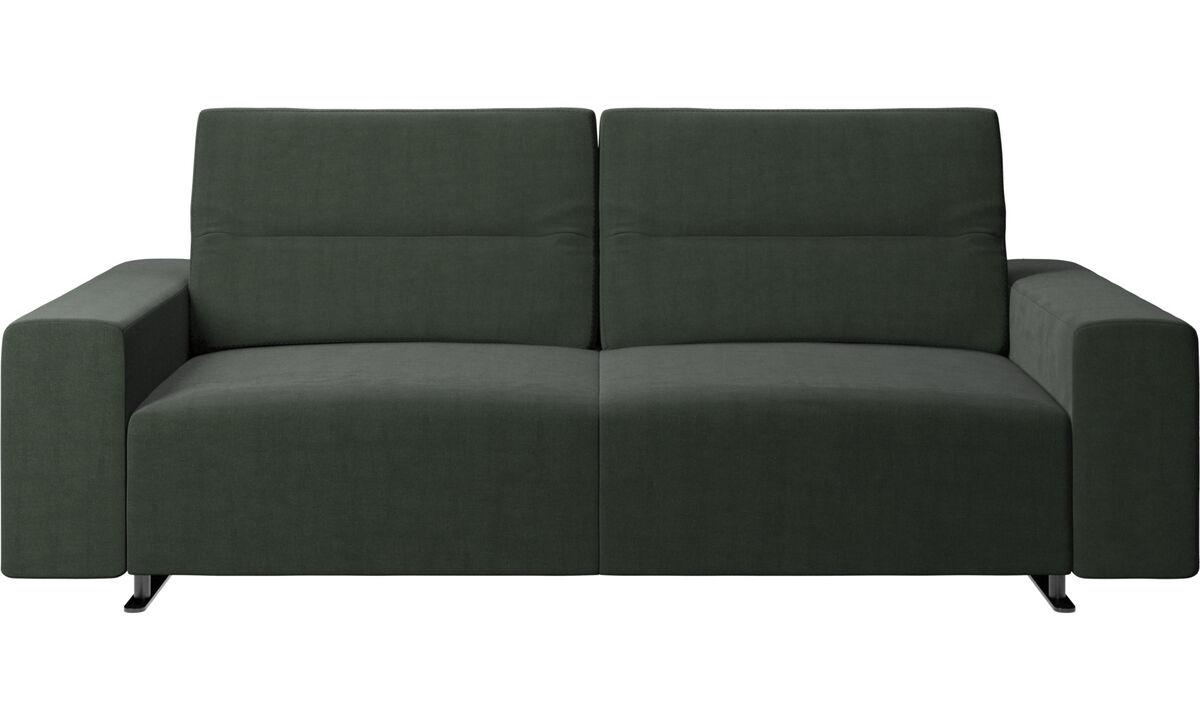 Sofás de 2 plazas y media - Sofá Hampton con respaldo ajustable y almacenamiento en lado derecho - En verde - Tela
