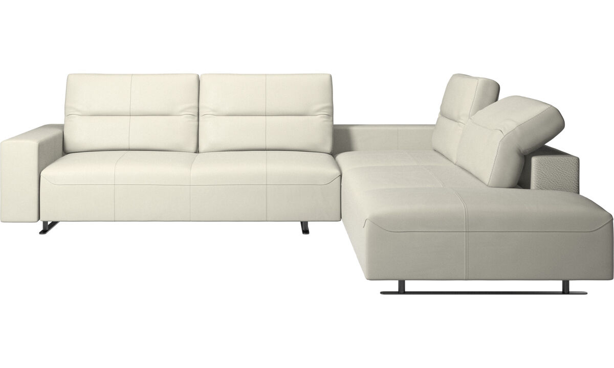 Corner sofas - Hampton corner sofa with adjustable back and lounging unit - Beige - Leather