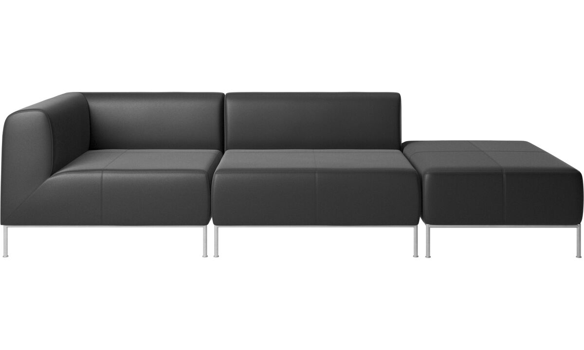 Modular sofas - Miami sofa with footstool on right side - Black - Leather