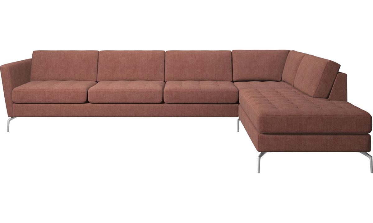 Sofás de canto - Sofá de canto Osaka  com chaise-lounge, assento tufado - Vermelho - Tecido