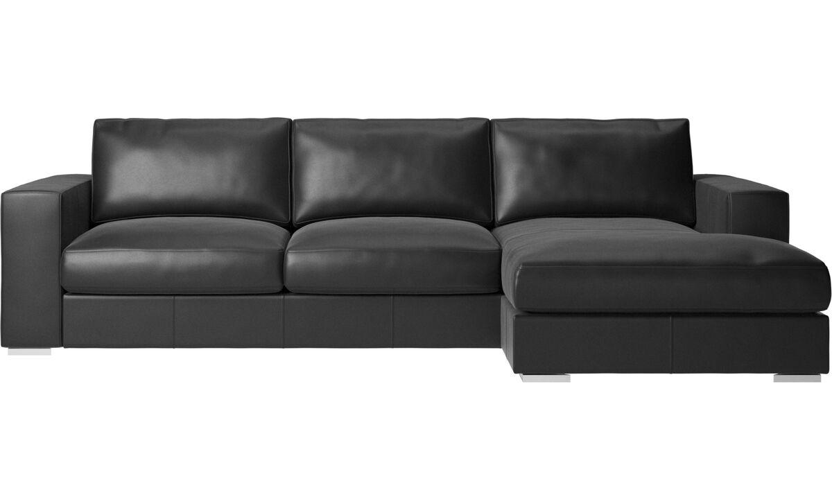 Chaise lounge sofas - Cenova sofa with resting unit - Black - Leather
