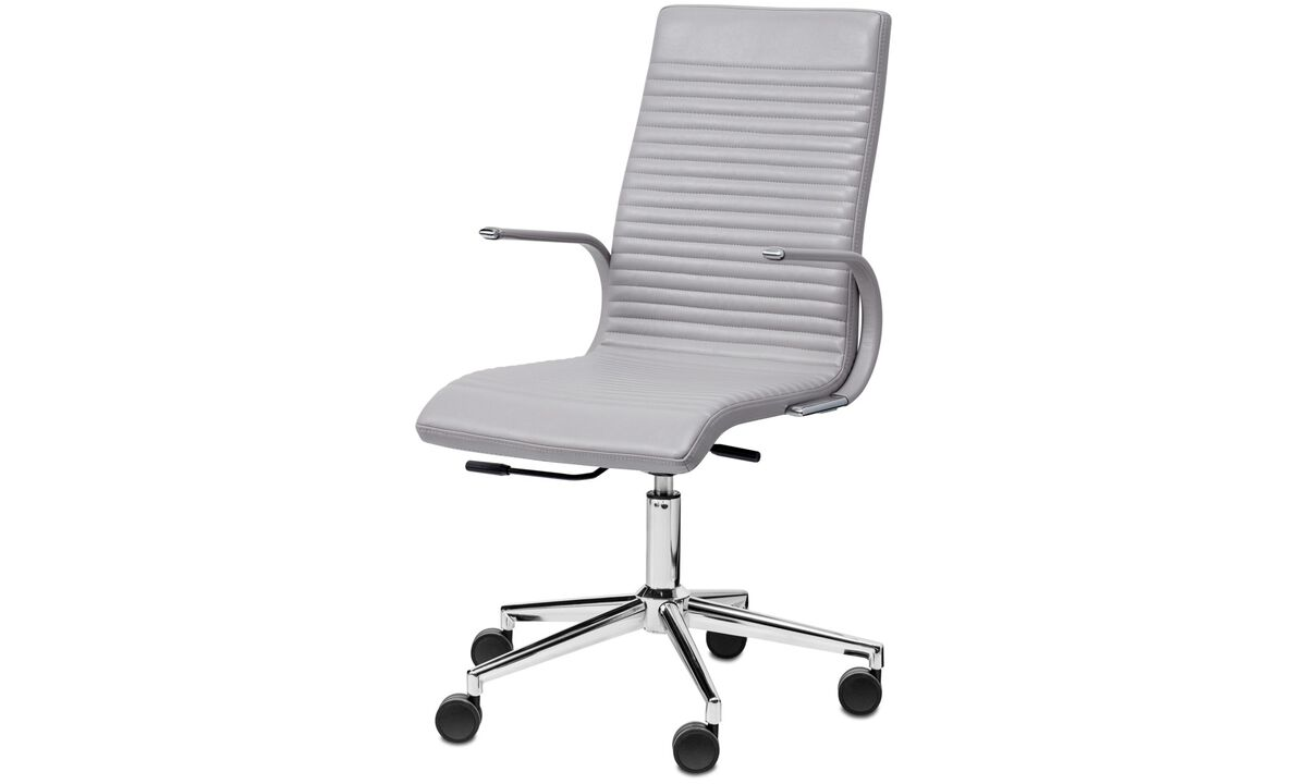 Home office chairs - Ferrara chair - Grey - Leather