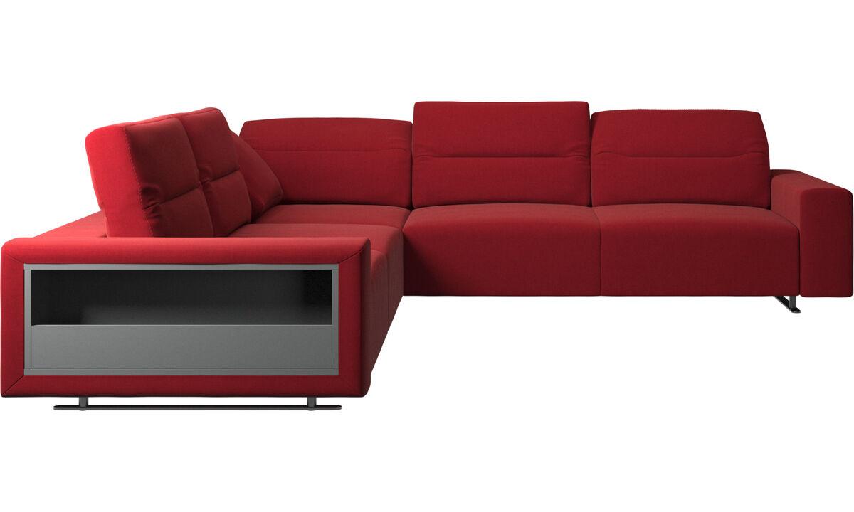 Sofás de canto - Sofá de canto Hampton com encosto ajustável e armazenamento - Vermelho - Tecido