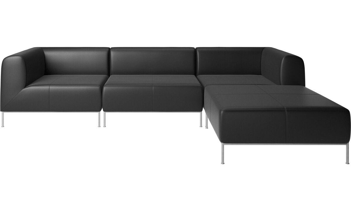 Sofas with open end - Divano Miami con pouf sul lato destro - Nero - Pelle