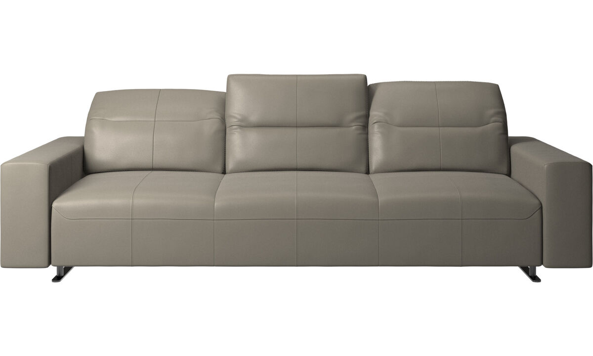 Sofás de 3 plazas - Sofá Hampton con respaldo ajustable - En gris - Piel