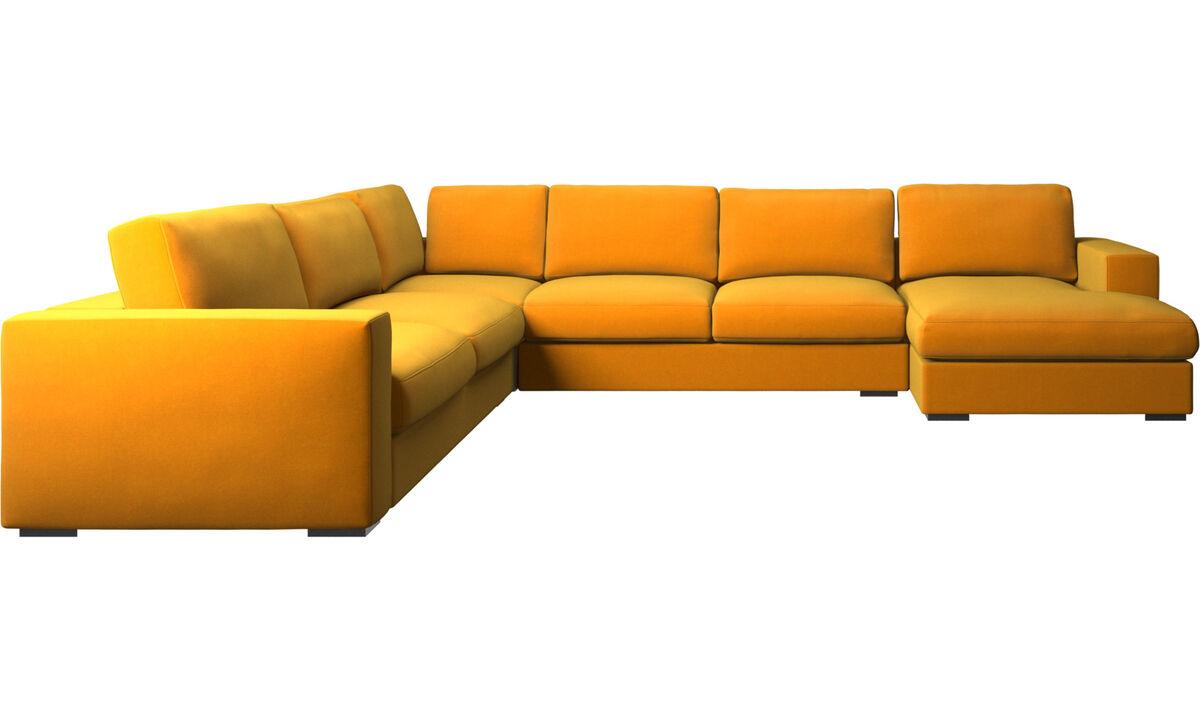 Sofás esquineros - sofá esquinero Cenova con módulo chaise-longue - Naranja - Tela