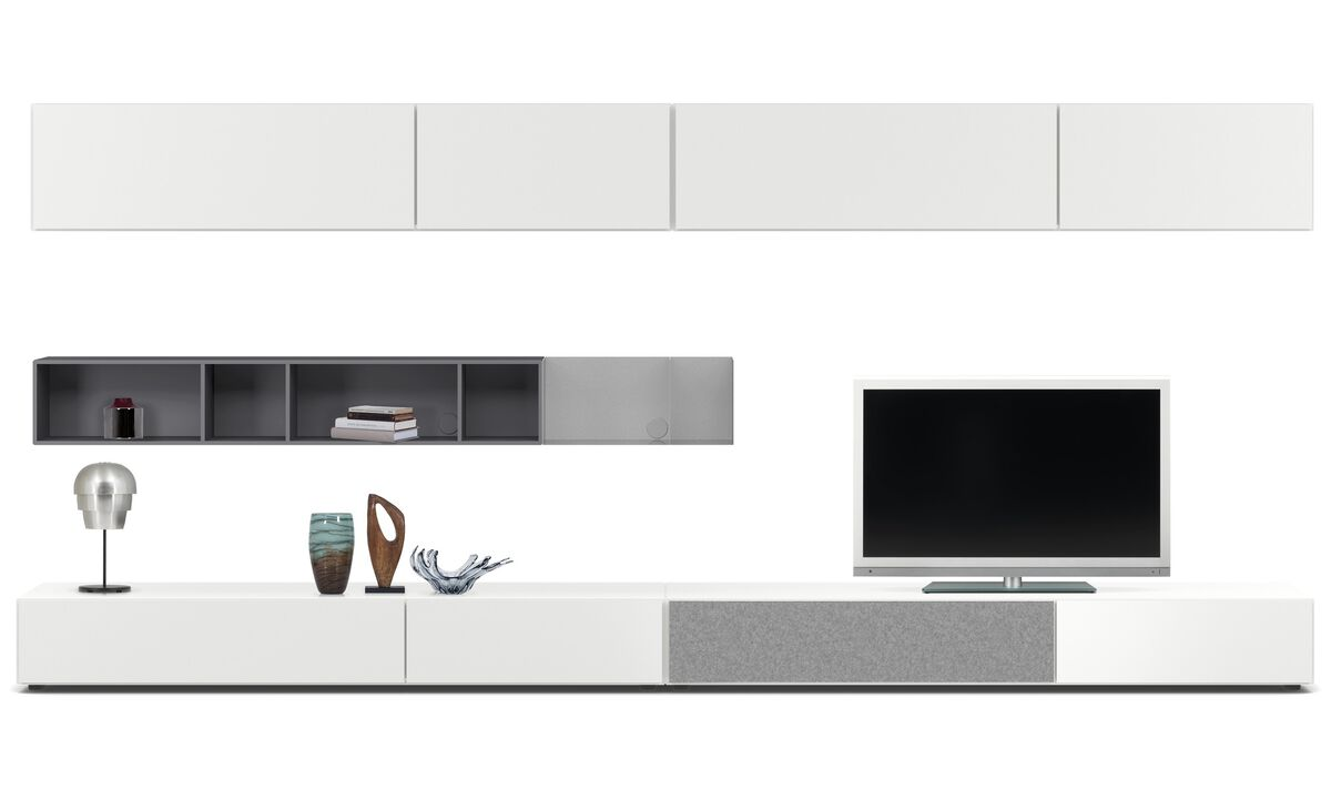 Wall systems - Lugano wall system with drawers, drop-down and flip-up doors - White - Lacquered