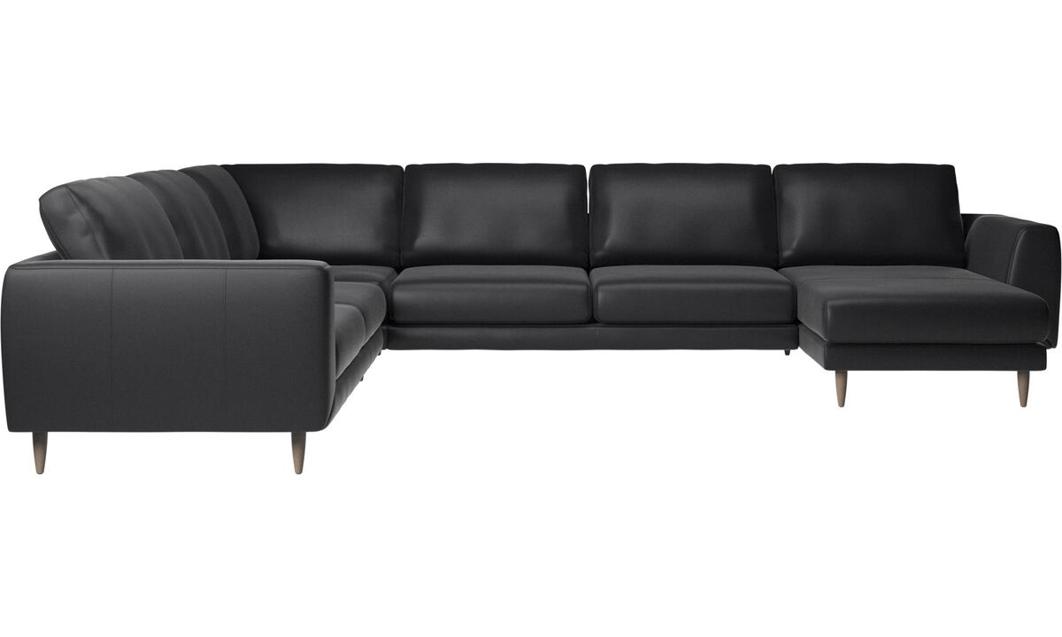 Chaise lounge sofas - Fargo corner sofa with resting unit - Black - Leather