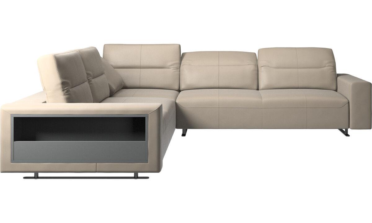 Corner sofas - Hampton corner sofa with adjustable back and storage - Beige - Leather