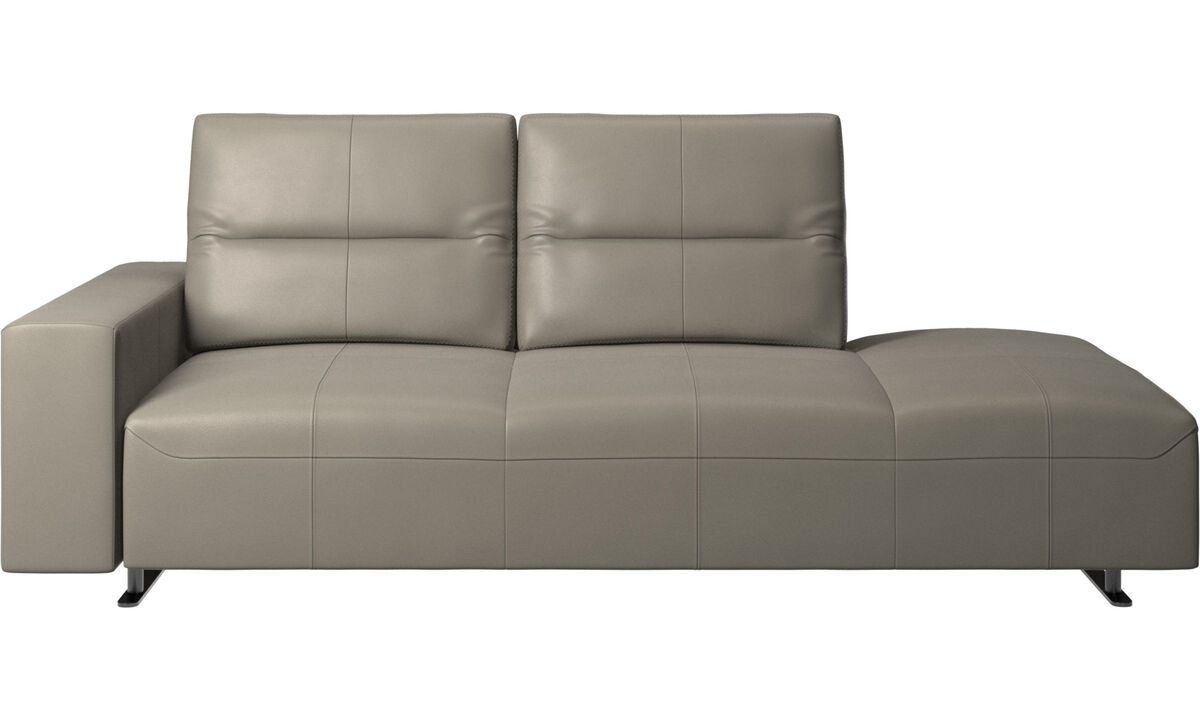 Sofas with open end - Hampton sofa with adjustable back and lounging unit right side, armrest left - Grey - Leather
