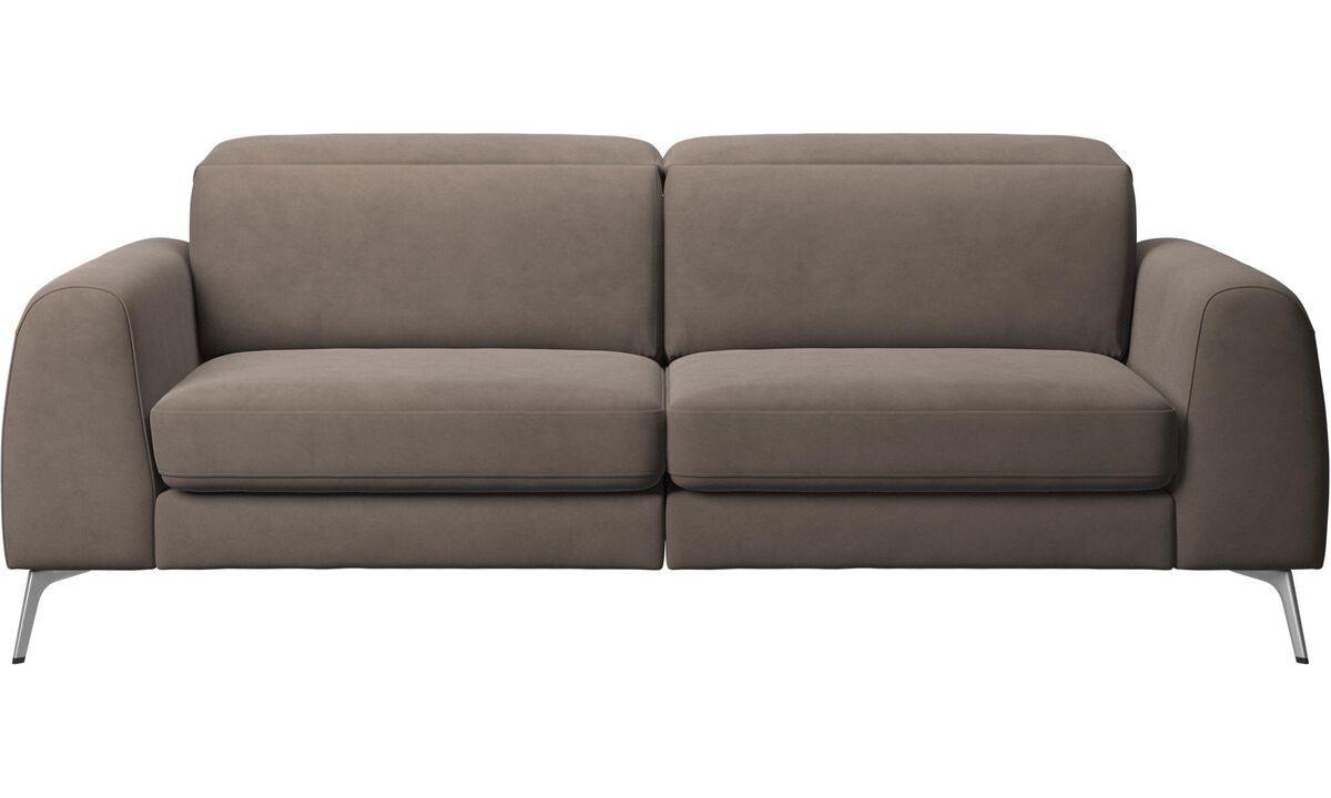 Sofa beds - Madison sofa with sleeper function and manual headrest - Gray - Leather