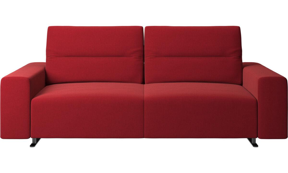 Sofás de 2 lugares e meio - Sofá Hampton com encosto ajustável - Vermelho - Tecido
