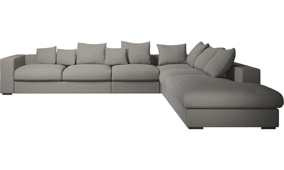 Sofas with open end - Cenova divano ad angolo con modulo relax - Nero - Tessuto