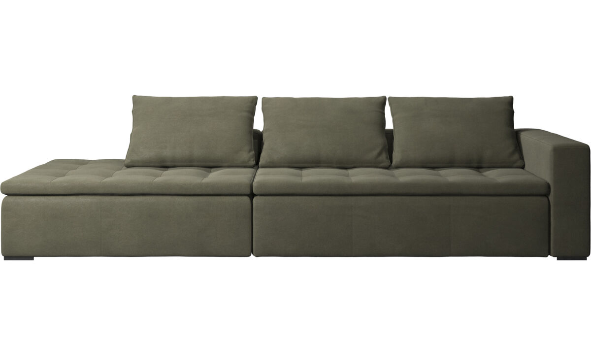 Sofas with open end - Mezzo sofa with lounging unit - Green - Leather
