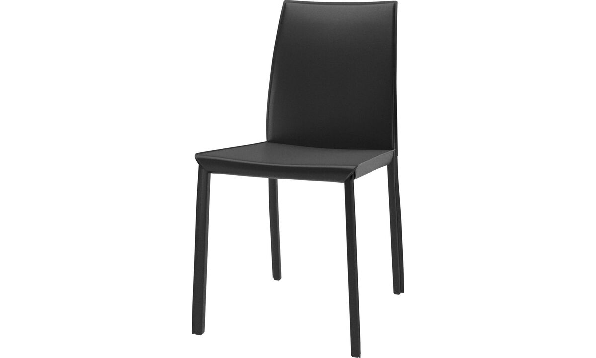 Dining chairs - Zarra chair - Black - Bonded leather