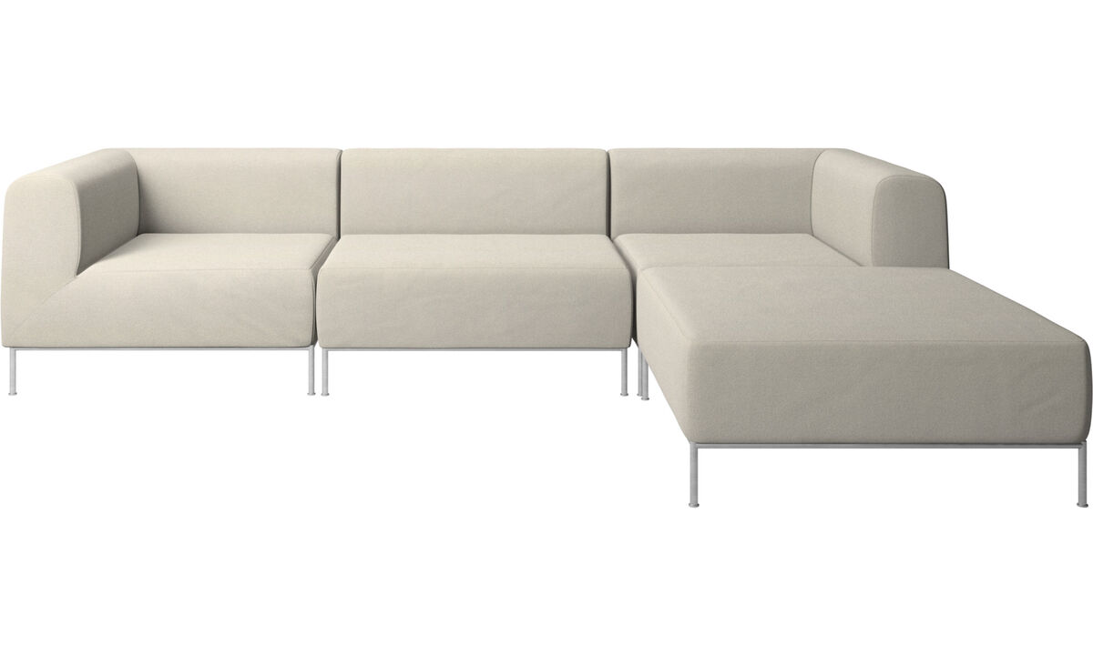 Sofas with open end - Miami sofa with footstool on right side - White - Fabric