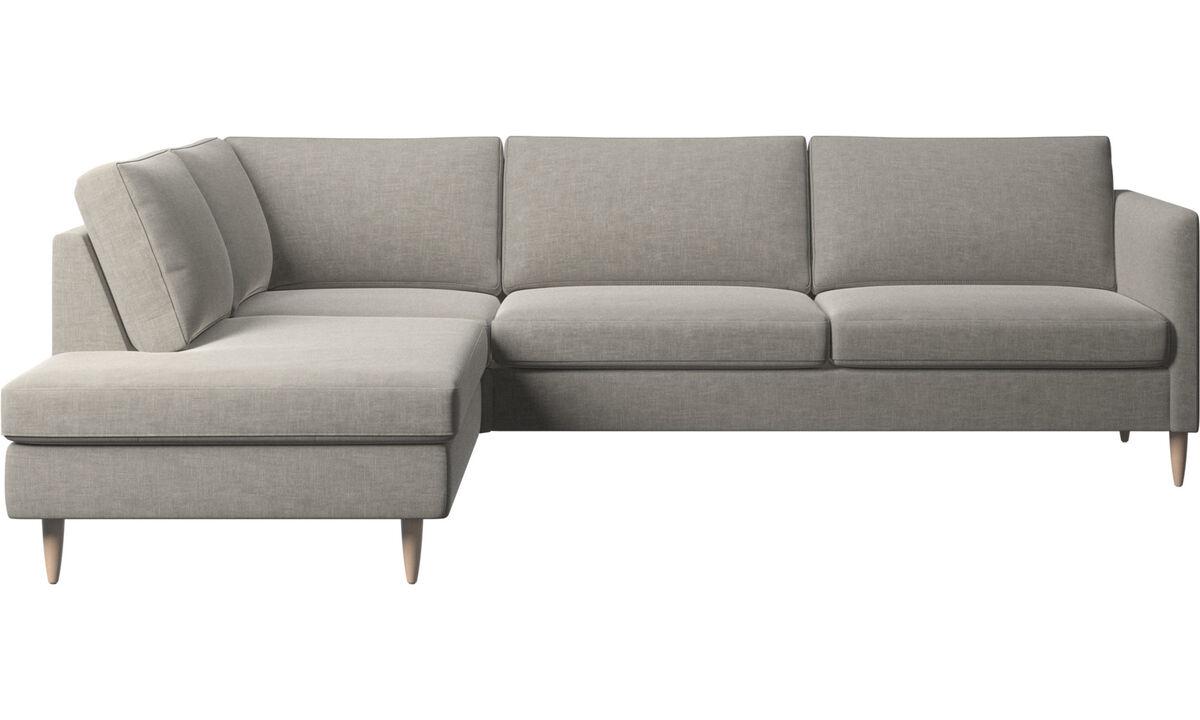 Banken met lounge element - Indivi hoekbank met relaxelement - Grijs - Stof