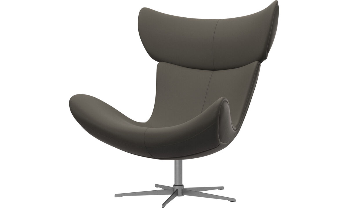 Armchairs - Imola chair with swivel function - Grey - Leather