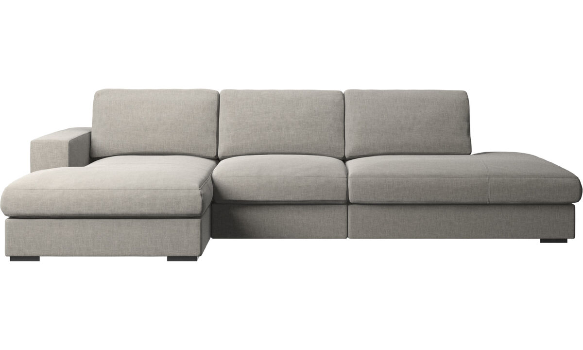 Sofas with open end - Cenova sofa with lounging and resting unit - Grey - Fabric