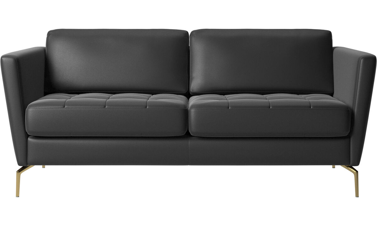 2 seater sofas - Osaka sofa, tufted seat - Black - Leather