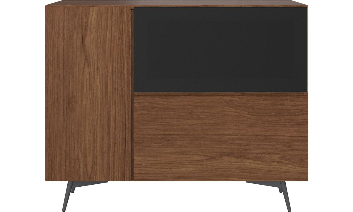 Sideboards - Lugano highboard with drop-down doors - Brown - Walnut