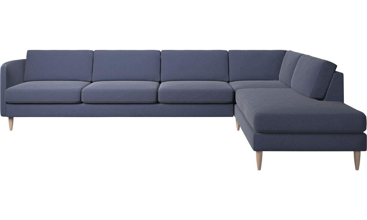 Canapés avec méridienne - canapé d'angle Osaka avec méridienne, assise classique - Bleu - Tissu