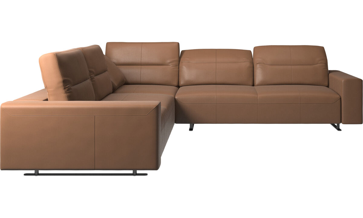 Corner sofas - Hampton corner sofa with adjustable back - Brown - Leather