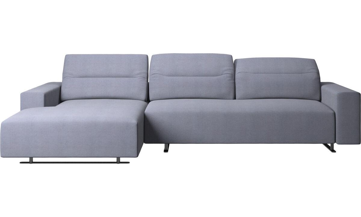 Sofás con chaise longue - Sofá Hampton con respaldo ajustable, módulo de descanso y almacenamiento en lado izquierdo - En azul - Tela