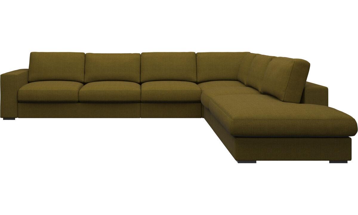 Corner sofas - Cenova corner sofa with lounging unit - Yellow - Fabric