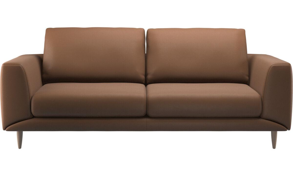 Sofás de 2 plazas y media - sofá Fargo - En marrón - Piel