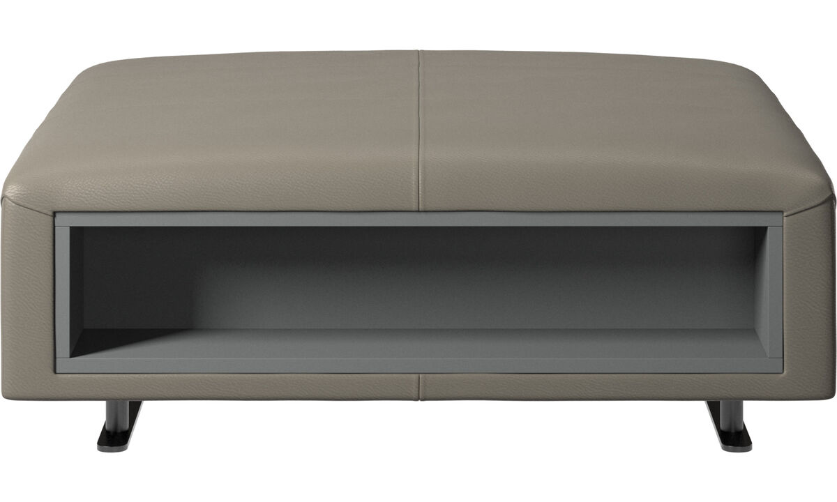 Footstools - Hampton footstool with storage left and right sides - Grey - Leather
