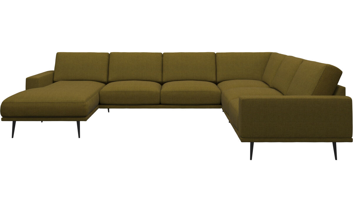 Chaise lounge sofas - Carlton corner sofa with resting unit - Yellow - Fabric