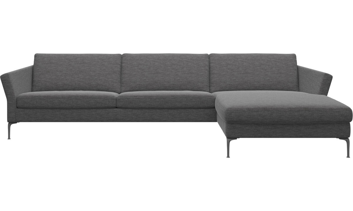 Chaise lounge sofas - Marseille sofa with resting unit - Grey - Fabric