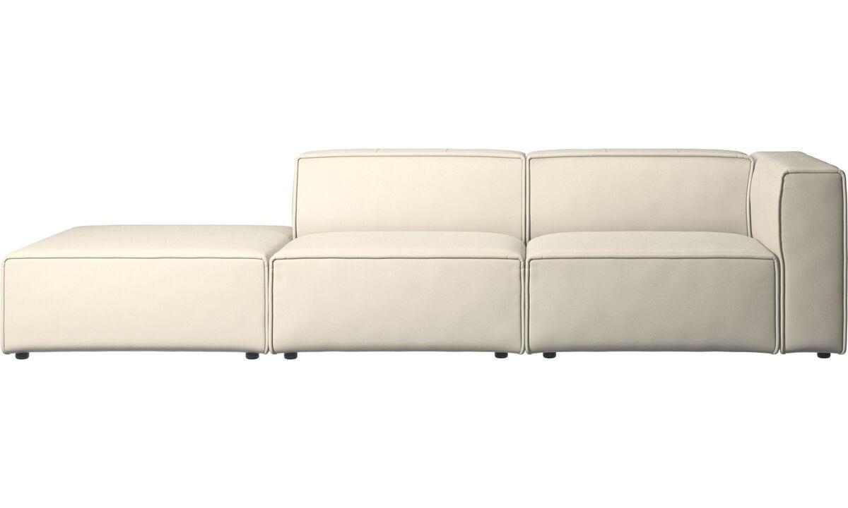 Sofás modulares - Sofá Carmo con módulo de descanso - Blanco - Piel
