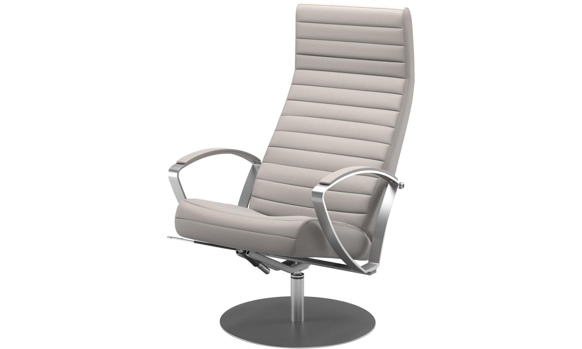 Armchairs   Wing Recliner With Swivel Function   Beige   Leather