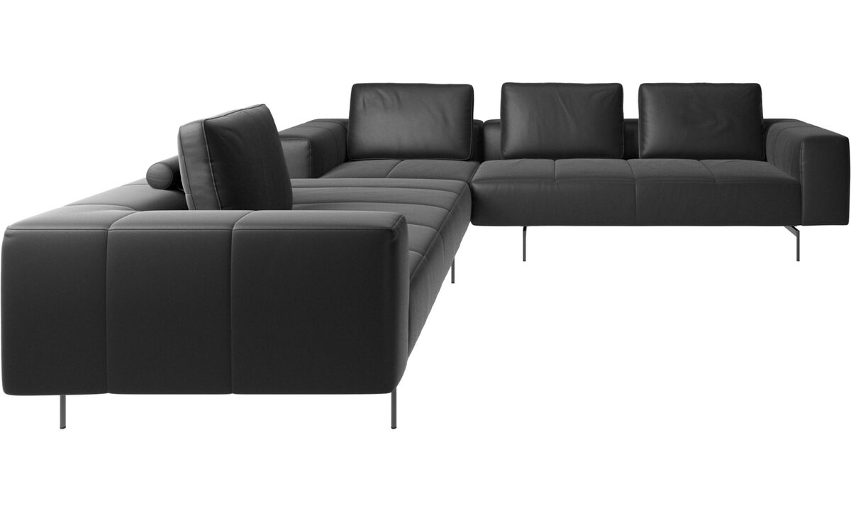 Modular sofas - Amsterdam corner sofa - Black - Leather