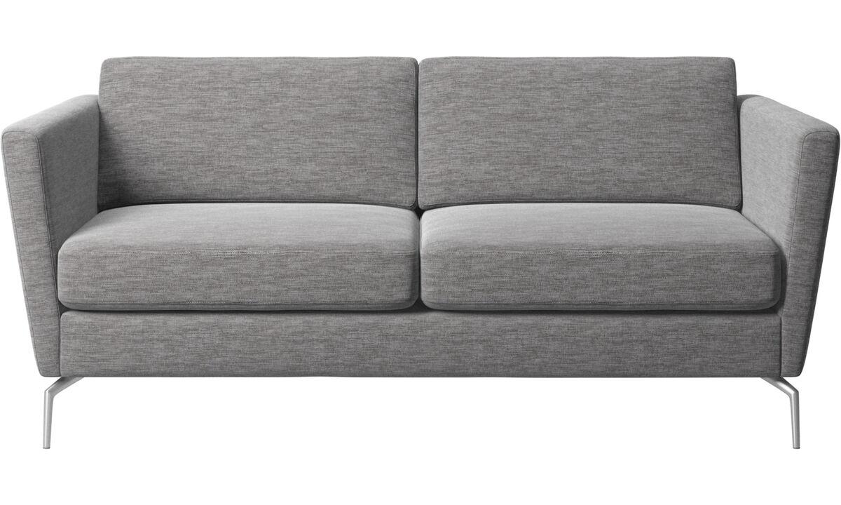 2 θέσιοι καναπέδες - Καναπές Osaka, κλασικό μαξιλάρι καθίσματος - Γκρι - Ύφασμα