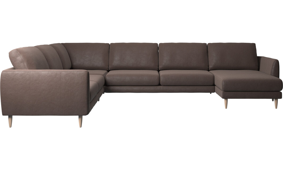 Chaise lounge sofas - Fargo corner sofa with resting unit - Brown - Leather