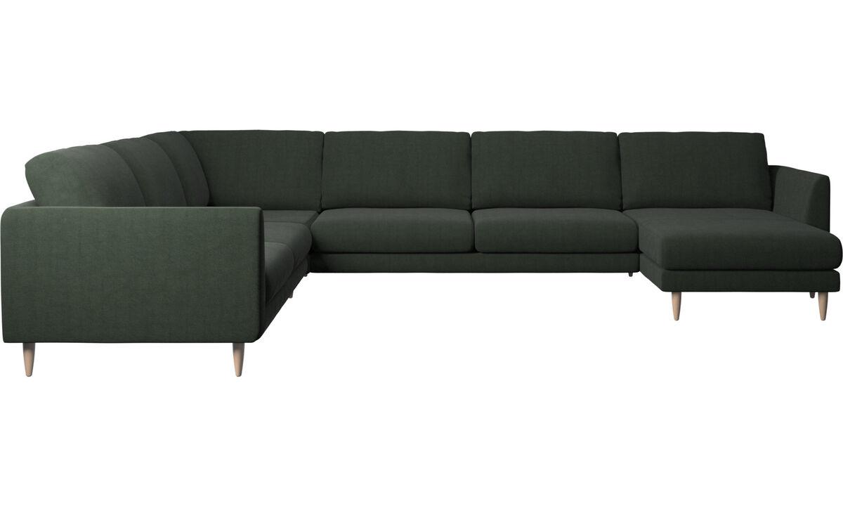Corner sofas - Fargo corner sofa with resting unit - Green - Fabric