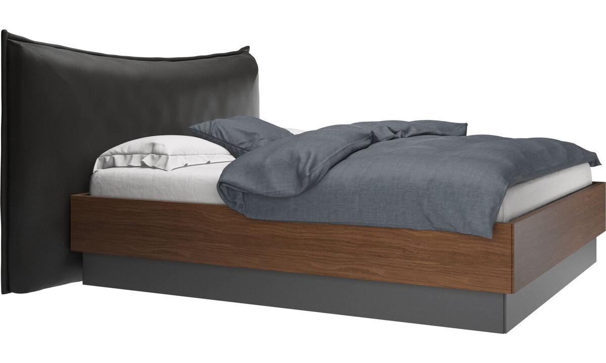 Camas - Cama con canapé, estructura elevable y tablado, no incluye colchón Gent - En negro - Piel