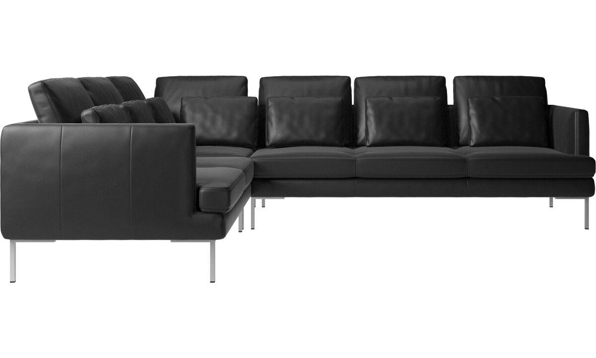 Sofás esquineros - sofá esquinero Istra 2 - En negro - Piel