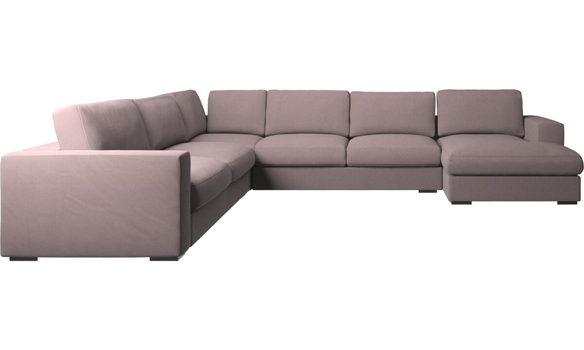 Corner sofas - Cenova corner sofa with resting unit - Purple - Fabric