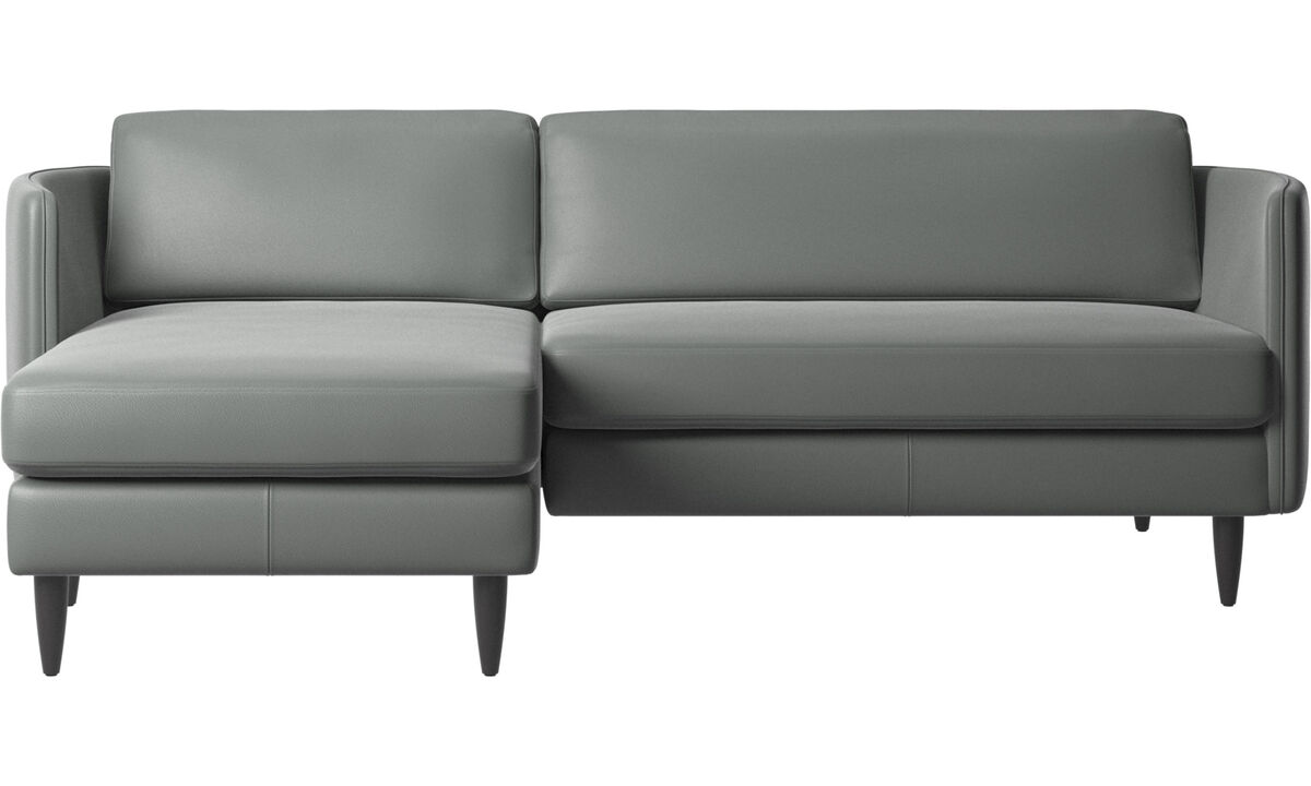 Sofás con chaise longue - Sofá Osaka con módulo chaise-longue, asiento regular - En gris - Piel