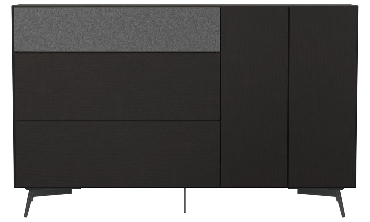 Sideboards - Lugano highboard with drawers and drop-down door - Black - Oak