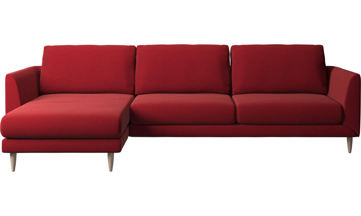 Chaise lounge sofas - Fargo sofa with resting unit - Red - Fabric