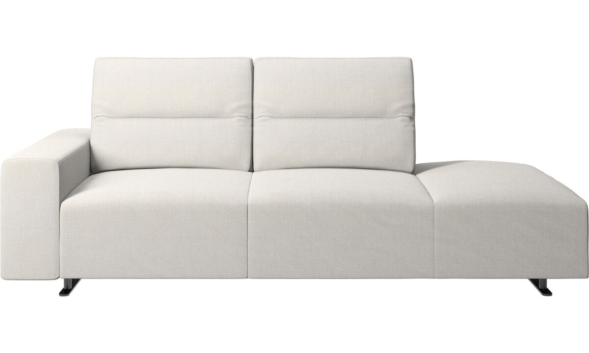 Sofas with open end - Hampton sofa with adjustable back and lounging unit right side, armrest left - White - Fabric