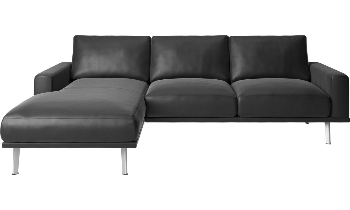 New designs - Carlton sofa with resting unit - Black - Leather
