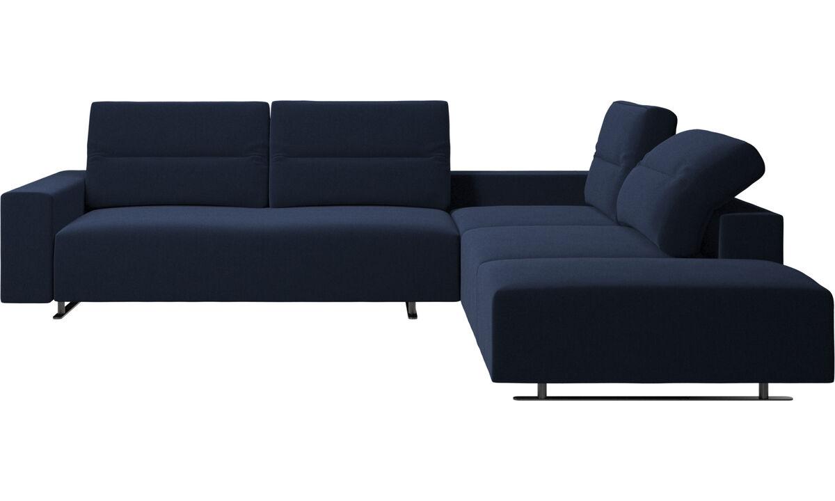 コーナーソファ - Hampton コーナーソファ アジャスタブルバック&ラウンジングユニット付き - ブルー - ファブリック
