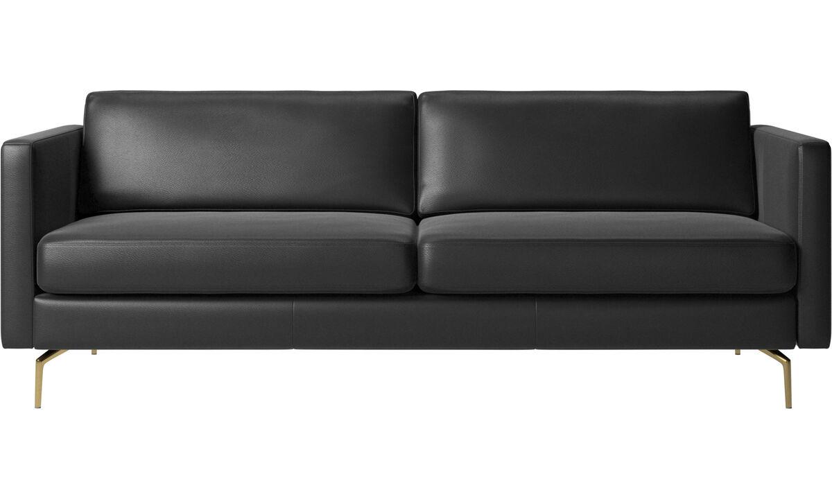2.5 seater sofas - Osaka sofa, regular seat - Black - Leather